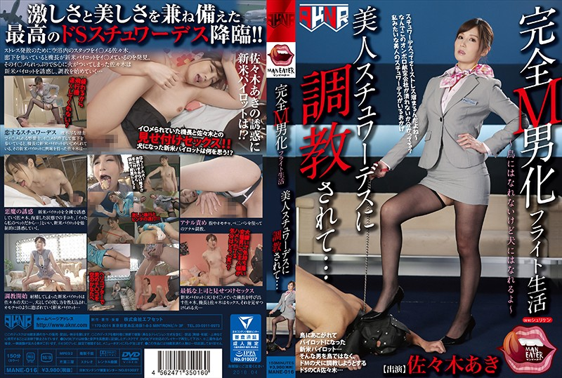 [MANE-016]A Totally Maso Man Transformation Flight Life I Was Getting Breaking In Training From A Beautiful Stewardess… Aki Sasaki