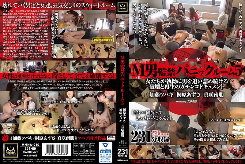[MMNA-010]A Maso Man Confinement Panic Room 5 These Women ARe Relentlessly Chasing After Men In A Never Ending Cycle Of Destruction And Rebirth Azusa Kirihara x Tsubaki Kato x Nao Masaki